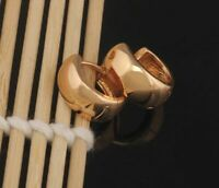 18K Gold Vergoldet Creole Ohrschmuck Glatte Ohrringe Schmuck Klassische Stil Neu