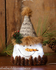 Snowman Head Christmas with lights Pinecones 7d4009 NEW Medium