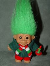 "Troll Doll 3"" Russ Christams Caroler with Candle Green Hair RARE"