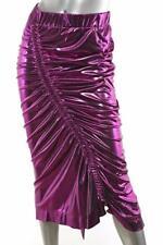 PREEN Womens Metallic Purple Lame JACY Ruched Slit Long Midi Skirt M NEW