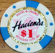 Old $1 HACIENDA Casino Poker Chip Vintage BJ Mold Boulder City NV