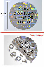"10000 HOLOGRAM ROUND SECURITY LABELS STICKER SEALS CUSTOM PRINT SILVER 3/4"" VOID"