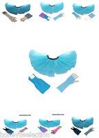 Neon BLUE TUTU SKIRT 80's Fancy Dress HEN PARTY Fun Run Dance LEG WARMERS GLOVES
