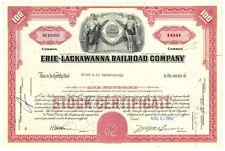 [41925] 1962 ERIE - LACKAWANNA RAILROAD COMPANY STOCK CERTIFICATE (100 SHARES)