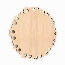 10x Wooden Scalloped Circle Hanging Shape Wedding Blank Craft Decoration (W38)