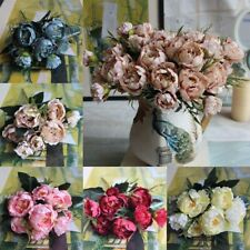 8 Heads Silk Peony Artificial Flowers Peony Wedding Bouquet Home Party nice*ly