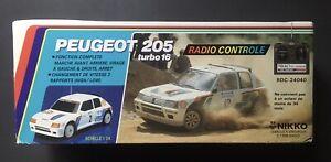 Vintage NIKKO 1985 Boîte Vide PEUGEOT 205 Turbo 16 1/24 Radio Commandée + Notice