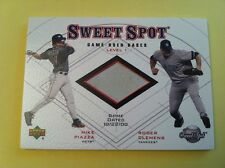 MIKE PIAZZA ROGER CLEMENS 2001 SWEET SPOT GAME USED BASES LEVEL 1 SUBWAY SERIES