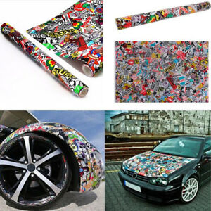 152x50cm JDM Panda Cartoon Graffiti Sticker Car Bomb Wrap Sheet Decal Vinyl DIY