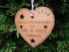 Personalised First Chritmas as Mr & Mrs Christmas Tree Bauble Heart Decoration
