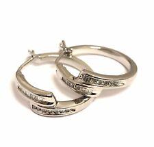925 sterling silver .30ct diamond dangle hoop earrings 6.9g ladies vintage