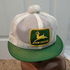 Vintage John Deere Green Patch Mesh Snapback Pom Farmer Hat Cap Louisville Rare