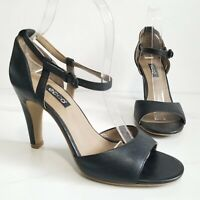 Ecco Open Toe Heels Sandals Black Leather Ankle Strap Womens Shoes Size 39 8-8.5