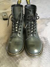 Dr Doc Martens Womens Gray Patent Leather 1460 W 8 Eye Boots Size 7 L