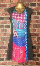 DESIGUAL Sheath Dress Sleeveless Multi-Print Front Back Zip Stretch Size XS