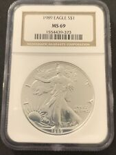 1989 American SILVER EAGLE NGC MS 69 Dollar Coin #373