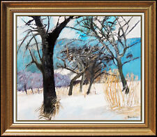 Guy Bardone Original Oil Painting on Canvas French Winter Landscape Signed Art