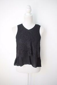 Ginger and Smart: Black Lace Ruffle Top, Size 8