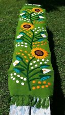 "Girasol Alcatraz Mexican Embroidered Table Runner Flowers Chiapas 60"" Green E12"