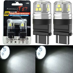 LED 15W 3157 White 6000K Two Bulbs Light Rear Turn Signal Park Replacement Stock