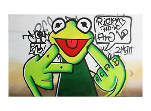 """36"""" x 36"""" large  happy frog CANVAS POP ART OIL PAINTING PRINT (not Framed)"""