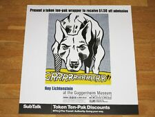 "ROY LICHTENSTEIN POSTER "" GRRRRRRRRRRR!! "" GUGGENHEIM MUSEUM NEW YORK in MINT"