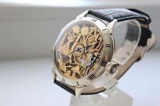 Man's Swiss Pocket Watch Omega Movement SKELETON Mason, Masonic  Silver case