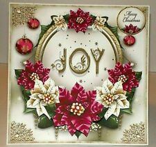 Handmade Greeting Card 3D Christmas With Poinsettia Flowers And Joy