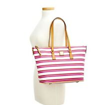 Dooney and Bourke L Stonington Zip Shopper Tote ORCHID PINK WHITE stripe Bag NWT