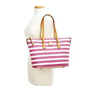 Dooney & Bourke Stonington Zip Top Shopper Tote ORCHID PINK WHITE stripe Bag New