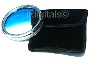 62mm Graduated Blue Color Lens Coated Glass Filter Screw-in Half Blue Half Clear
