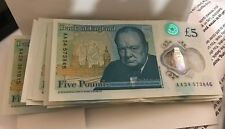 New Bank of England Polymer £5 Five Pound Note Genuine Tender AA Serial Number