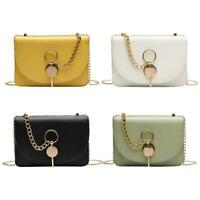 Fashion Women's Messenger Bag Leather Pure Color Chain Shoulder Cross-body Purse