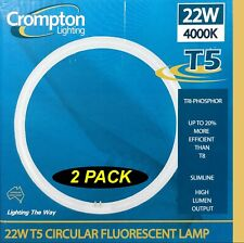 2 x 22W T5 Triphosphor Circular Fluorescent Tubes Lamps 4000K Cool White 1375Lm
