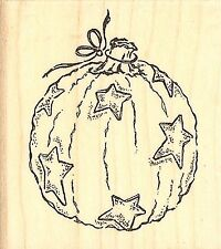 Halloween STAR PUMPKIN Wood Mounted Rubber Stamp Impression Obsession NEW