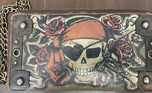 """Isabella Fiore Wallet with Chain Skull Heart Eye Patch 7x4""""  Leather Zip Around"""