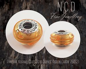 NC Designs Authentic Pandora Murano Glass Bead Orange Ribbon Charm 790621