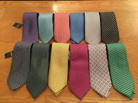 TM Lewin Tie 100% Premium Italian Silk - Various Printed Designs - 3 for £25