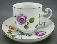 Meissen Hand Painted Purple Rose & Floral Coffee Cup & Saucer Circa 1740-1750s