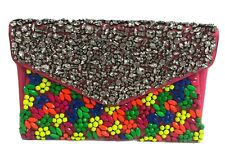 Valentino Neon Fluo Pink Leather Crystal & Multicolored Stone Clutch $2995.00