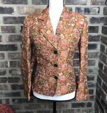 Vintage  Size 4 Oilily Blazer ORANGE Floral Metallic Shiny Jacket,(34 Euro) AE