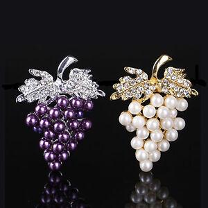 Women Charms Rhinestone Crystal Wedding Bridal Grape  Brooch Pin Jewelry