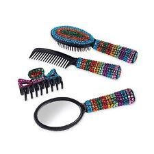 4 PC Jeweled VANITY SET Comb Brush Mirror Hair Clip NEW In Box DELUXE! Rainbow