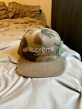 Supreme New York Chrome Classic Olive Camouflage 5 Panel Snapback Cap Hat New