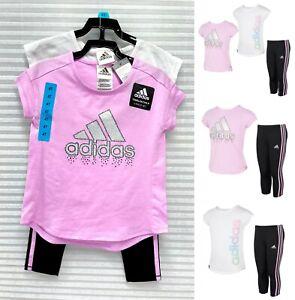adidas Girls' 3-piece Tight Set, Purple & White - NWT