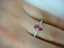 1 CARAT GENUINE PINK SAPPHIRE AND 0.40 CT HALO DESIGN DIAMONDS ANNIVERSARY RING