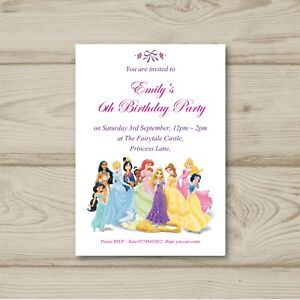 Disney Princesses 10 Personalised Birthday Party Invitations