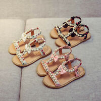 Toddler Kid Girl Sandals Cute Bowknot Pearl Crystal Roman Sandals Princess Shoes