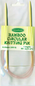 Circular knitting needles- bamboo - 2 mm to 10mm x 80 cm long