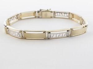 "14K Yellow And White Gold Greek Key Men's Bracelet 8 ""  18.1 grams"